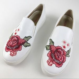 Vionic Midi Floral Slip-On Embroidered White Leather Sneakers Size 8